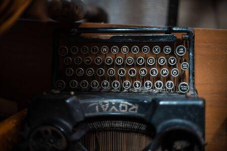 Vintage typewriter keys details close up machine retro royal uk manchester london antique shop garage rust sharp focus shallow depth of field copy space