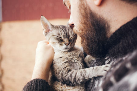 Close-up of handsome young man who is standing on a balcony with his cat. Home pets. Beard man in icelandic sweater is holding and hugging his cute curious Devon Rex cat with blue eyes.