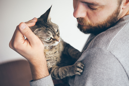 Handsome animal-lover man is hugging and cuddling his gray cat pet.