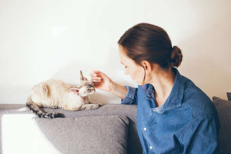 Portrait of a woman in blue jeans shirt is cuddling Devon Rex cat. Cat is feeling happy and relaxed and purrs. Selective focus and natural light