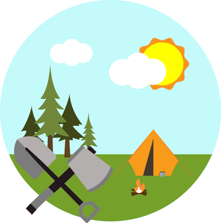 Tent and fire on a background of forest, sky, sun and clouds. Flat icons.