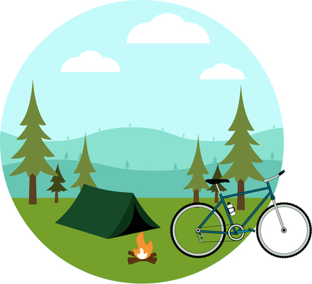 Bike, tent and fire on a background of hills, forest, sky and clouds. Flat icons.