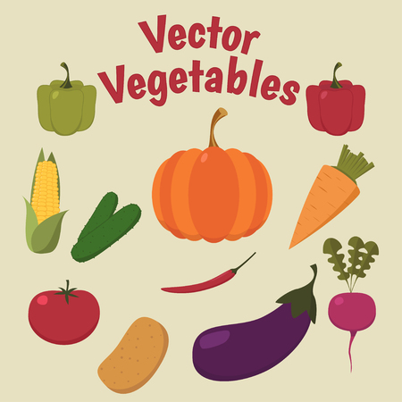 Fresh, colorful vegetables on a color background with the inscription