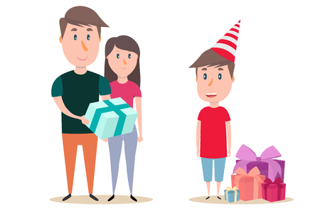 Parents give her son a present. Childrens birthday