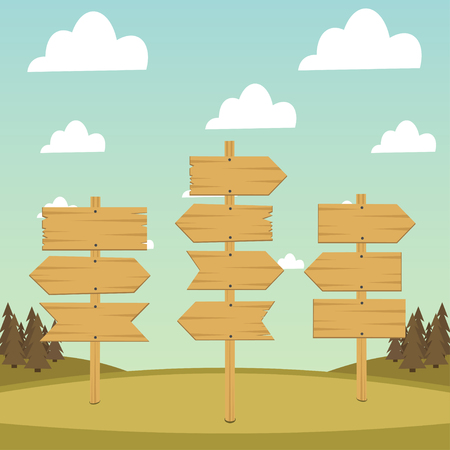 Set of wooden arrows and banners on a background of forest and sky Illustration
