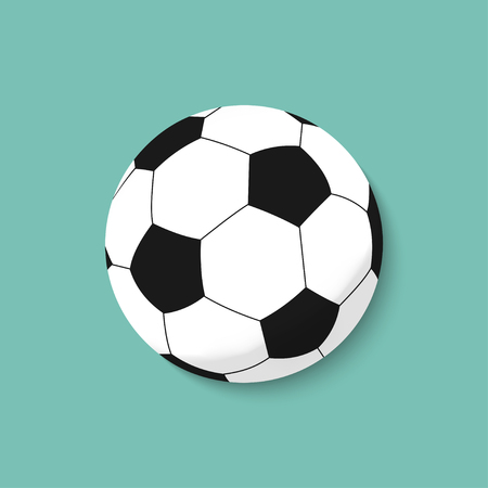 3d soccer ball on a colorful background casts a shadow. Vector illustration