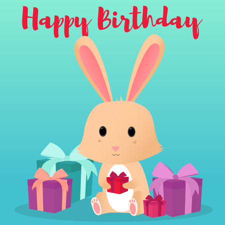 Cute rabbit with a gift box in hands. Happy Birthday. Vector illustration Illustration