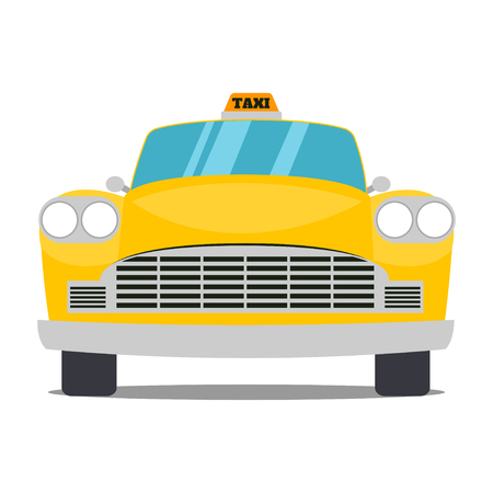 old new york: Old yellow taxi isolated on a white background Illustration