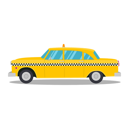 Old yellow taxi isolated on a white background Illustration