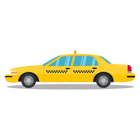 Yellow taxi isolated on a white background. Vector illustartion