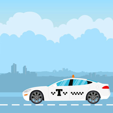 White taxi on the background of the city. Vector illustration in flat style Illustration