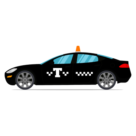 Black taxi isolated on a white background. Vector illustartion in a flat style