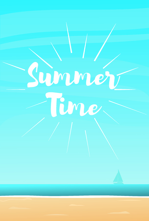 Summer time. Beach background with lettingering. Vector illustration in a flat style Illusztráció