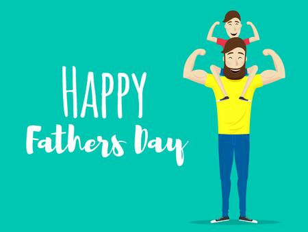 Happy fathers day. Super dad. Father with his son. Vector illustration