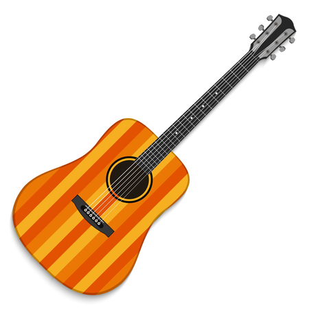 fingerboard: Musical instrument. Acoustic guitar isolated on white background. Vector illustration