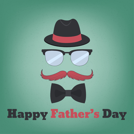 Happy Fathers Day. Fathers day concept. Hat, glasses, mustache and bow tie. Vector illustration