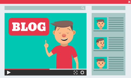 thankful: Video blogger concept. Male blogger channel. Computer screen with video player. Vector illustration in flat style