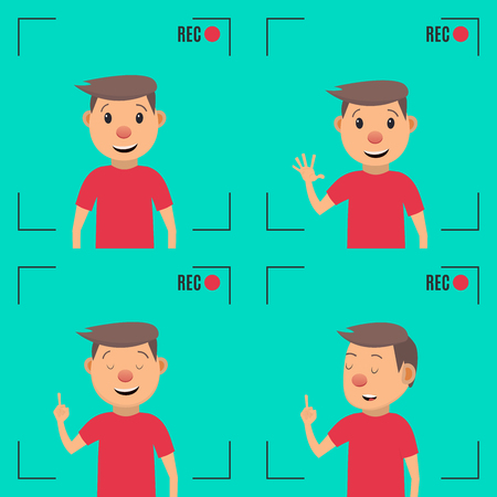 Video blogger concept. Male blogger character. Male blogger channel. Camera shooting screen. Vector illustration in flat style