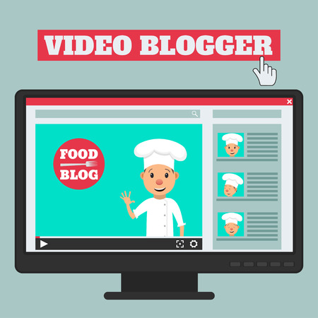 outerwear: Food blog. Video blogger concept. Male blogger channel. Computer screen with video player. Vector illustration in flat style