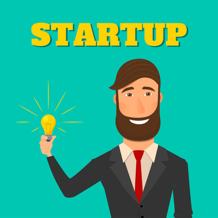solve: Businessman holding a light bulb. New idea for business. New idea for a startup. Vector illustration in flat style Illustration