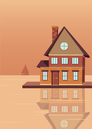 Building on the Wharf. The building reflected in the water. Vector illustration in flat style