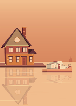 Building on the Wharf. The building and boat reflected in the water. Vector illustration in flat style