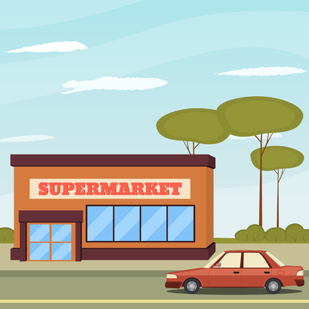Supermarket building and car. Supermarket building on the background of sky, clouds and trees. Vector illustration in a flat style