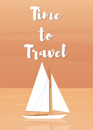Sailboat in the open sea. Time to travel. Vector illustration in flat style Illustration