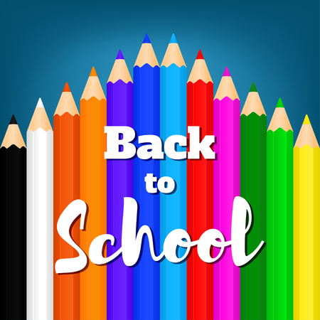 Back to school banner with color pencils. Vector illustration