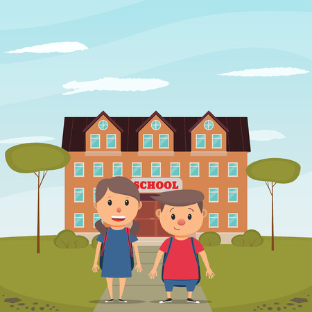 Back to school. Boy and girl on the background of the school building. Vector illustration in flat style