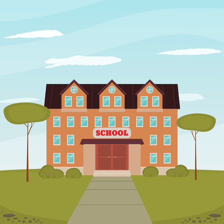The school building on a background sky and clouds. Back to school. Vector illustration in flat style