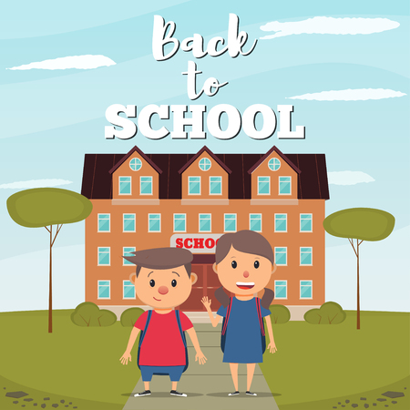 Back to school with boy and girl, and school building background vector illustration in flat style