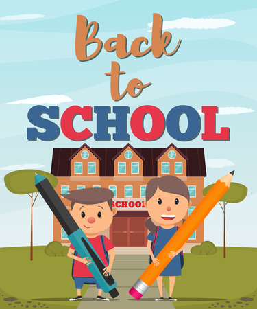 Back to school. Boy and girl on the background of the school building. Back to school poster, banner or flyer. Vector illustration in flat style