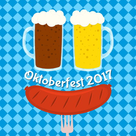 Oktoberfest poster, card design, menu, invitation, banner, menu, flyer. Illustration