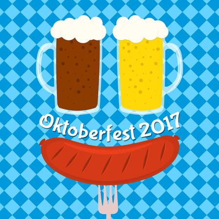 german sausage: Oktoberfest poster, card design, menu, invitation, banner, menu, flyer. Illustration