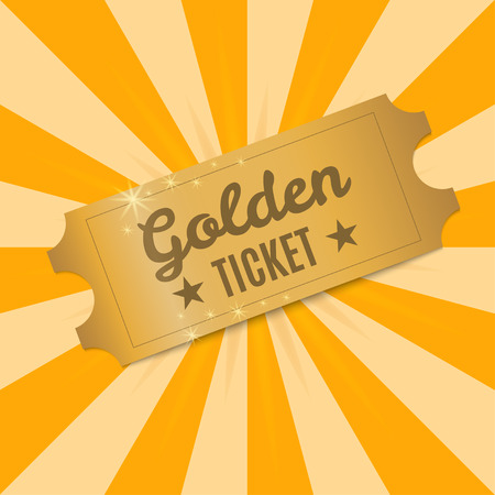 Golden ticket. Shiny Golden ticket to a background of rays of light. Vector illustration  イラスト・ベクター素材