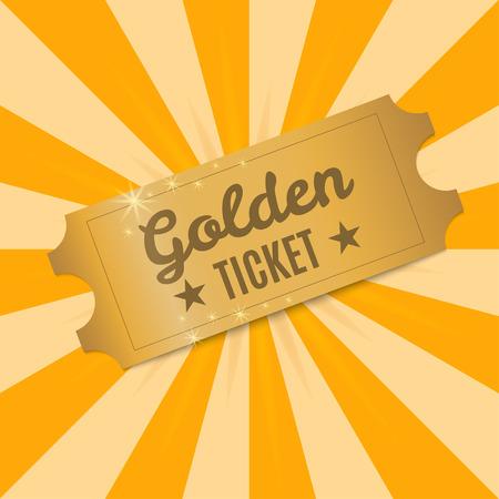 Goldene Ticket . Glänzende goldene Ticket zu einem Hintergrund von Lichtstrahlen . Vektor-Illustration