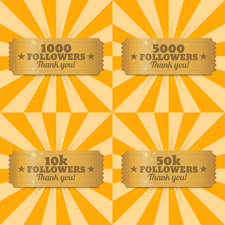 Golden banners 1000, 5000, 10000, 50000 followers with thank you. Vector illustration
