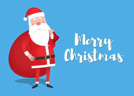 Santa Claus holding a gift box. Christmas greeting card, background or poster. Vector illustration Illustration