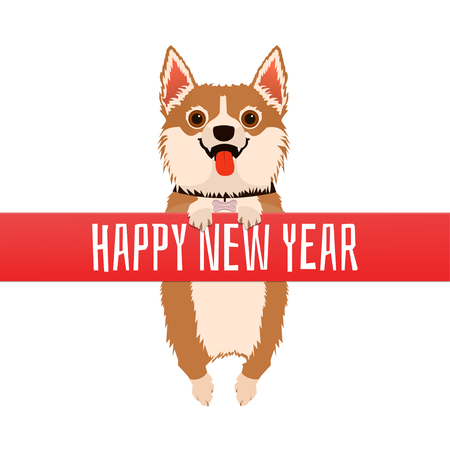 Happy New Year. Dog with red ribbon. Vector illustration for greeting card or poster.
