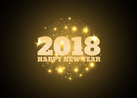 date night: Happy New Year 2018 Gold text on a background of sparks and stars. Vector illustration