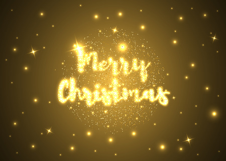 Merry Christmas. Shining Christmas ball and text on dark background. Vector illustration