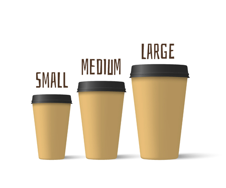 Realistic coffee cups of different sizes isolated on a white background. Paper cups mockup. Vector illustration
