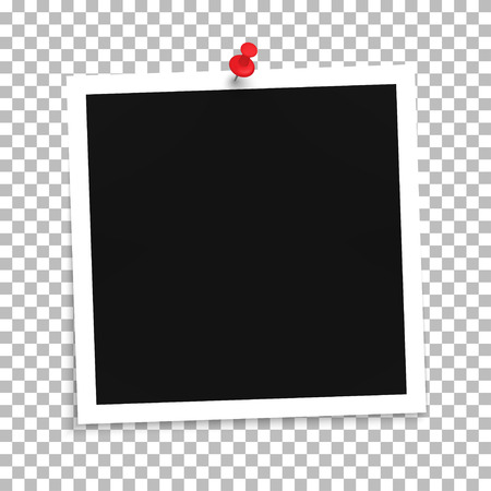 Photo frame template with push pin on a transparent background. Vector illustration Vettoriali