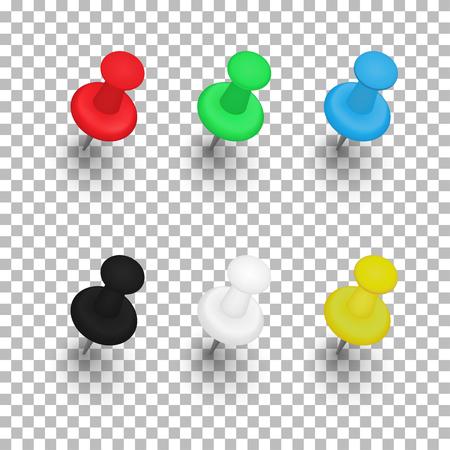 Zestaw szpilek z cieniami na przezroczystym tle. Ilustracja wektorowa