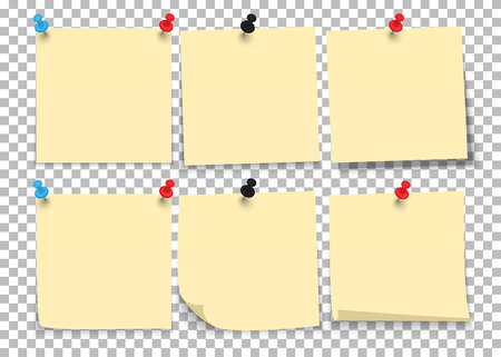 Set of sheets of notes paper with push pins on a transparent background. Vector illustration. Ilustrace