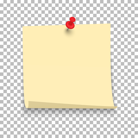 Yellow sheet of note paper with push pin on a transparent background. Vector illustration.