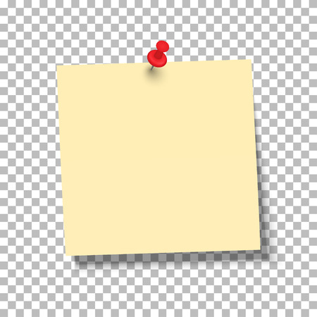 Yellow sheet of note paper with push pin on a transparent background. Vector illustration