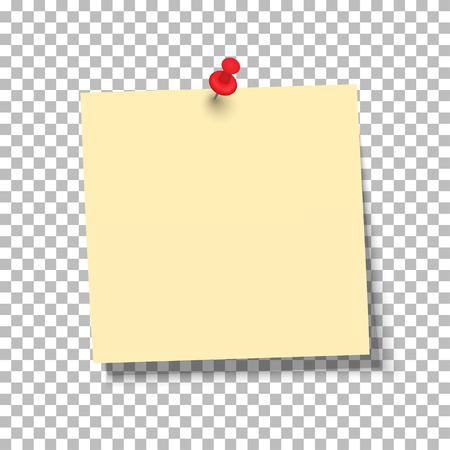 Foglio giallo di carta nota con puntina su uno sfondo trasparente. Illustrazione vettoriale Archivio Fotografico - 91055302