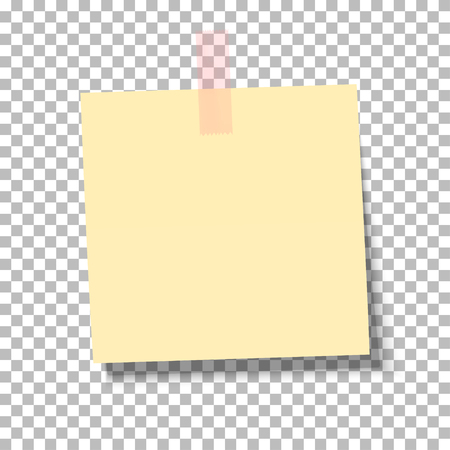 Yellow sheet of note paper with adhesive tape on a transparent background. Vector illustration